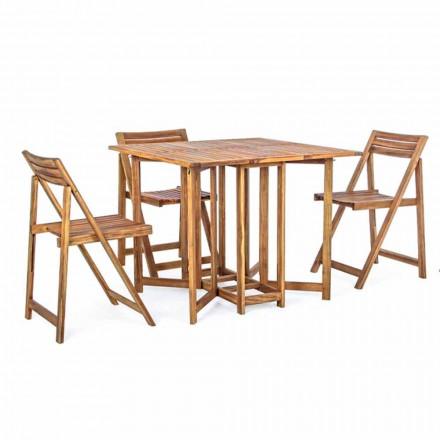 Kwadratowy stół zewnętrzny z drewna akacjowego z 4 składanymi krzesłami - szałwia