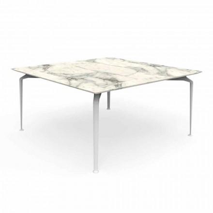 Kwadratowy stolik na zewnątrz, nowoczesny design Gres i aluminium - Cruise Alu Talenti