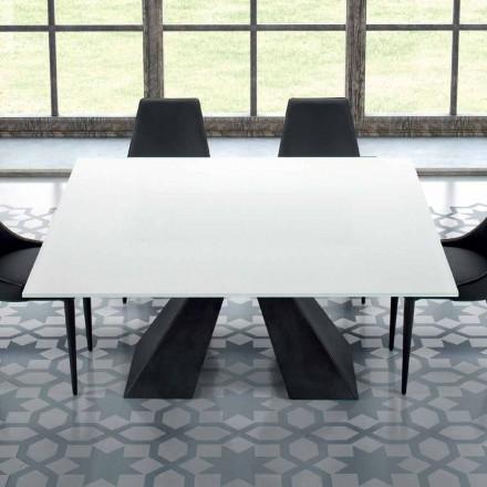 Kwadratowy stół z hartowanego szkła ekstremalnie białego i stali Made in Italy - Dalmata