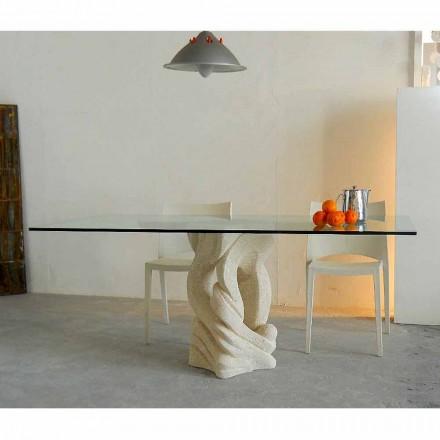 Stół prostokątny z kamienia Vicenza Ascanio, wyrzeźbiony ręcznie