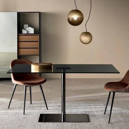 Nowoczesny prostokątny stół w wędzonym lub ultralekkim szkle Made in Italy - Dolce