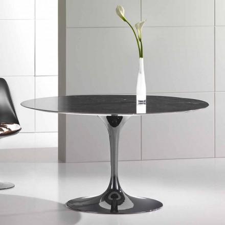 Okrągły stół do jadalni z wysokiej jakości marmuru Marquinia Made in Italy - Nerone