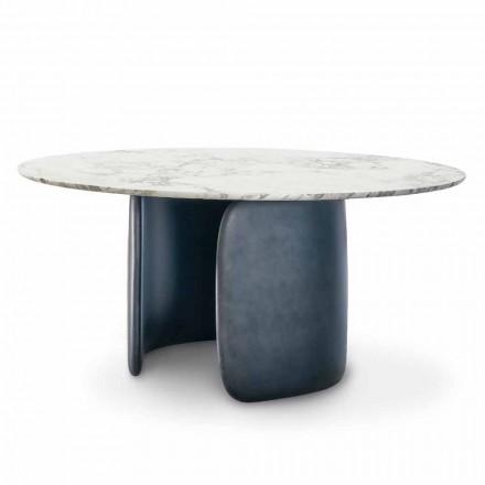 Okrągły stół designerski z polerowanym marmurowym blatem Made in Italy - Mellow Bonaldo