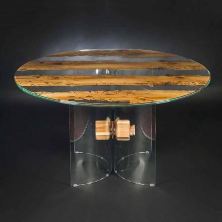 Stół okrągły drewniano - szklany design Venezia