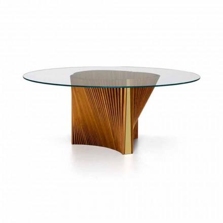 Luksusowy okrągły stół ze szkła i olejowanego jesionu Made in Italy - Madame