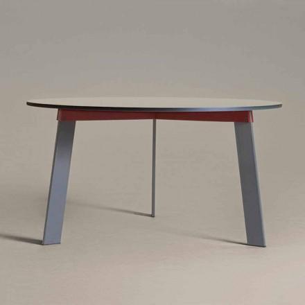 Nowoczesny okrągły stół ze stali i kolorowego lakierowanego MDF - Aronte