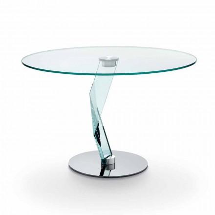 Okrągły stół o nowoczesnym designie z wyjątkowo przezroczystego szkła wyprodukowanego we Włoszech - Akka