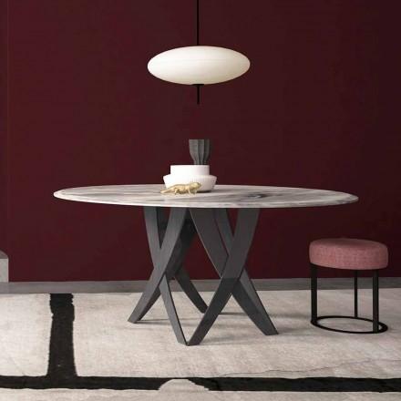 Okrągły stół z szarego marmuru o średnicy 140 cm, wyprodukowany we Włoszech - Montereale