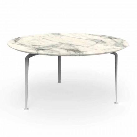 Nowoczesny okrągły stół zewnętrzny z gresu i aluminium - Cruise Alu Talenti