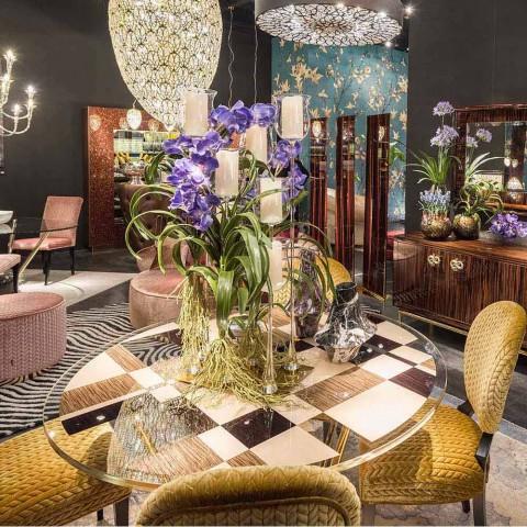 Okrągły stół Modeno ze szklanym blatem i drewnianymi wkładami Ozzy