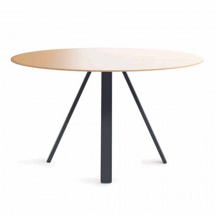 Okrągły stół do jadalni z metalu i płyty MDF Made in Italy - Cornelius