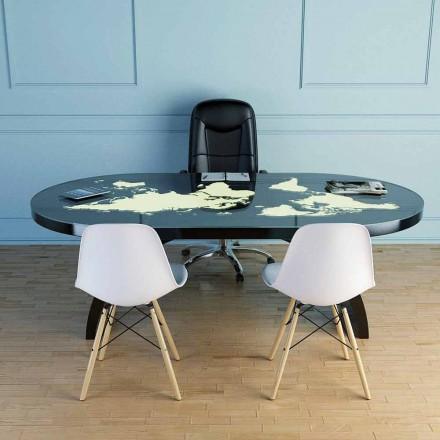 Nowoczesny stół biurkowy ze szklanym blatem wykonanym we Włoszech, Pontida
