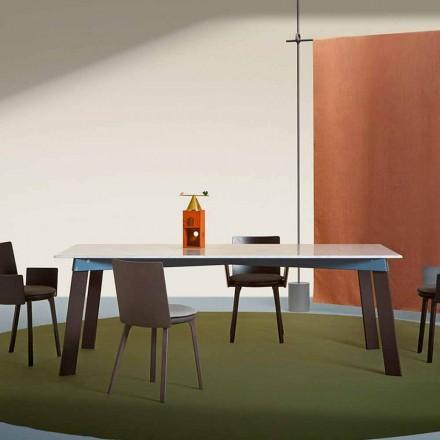 Nowoczesny stół do salonu ze stali z designerskim marmurowym blatem - Aronte