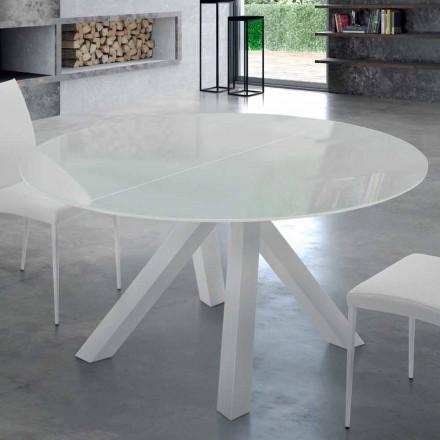 Rozkładany okrągły stół ze szkła hartowanego i stali Made in Italy - Settimmio