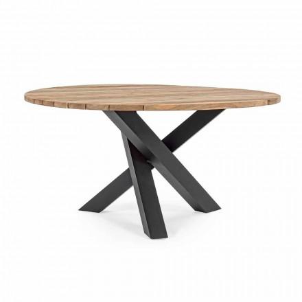Okrągły nowoczesny stół na zewnątrz z Homemotion - blat z drewna tekowego Ruben