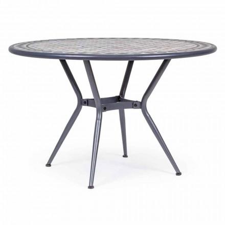 Okrągły stół ogrodowy z ceramicznym blatem ozdobiony mozaiką - Letizia