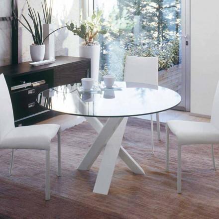 Okrągły stół design d.130 wykonany ze szkła w kolorze włoskim Cristal