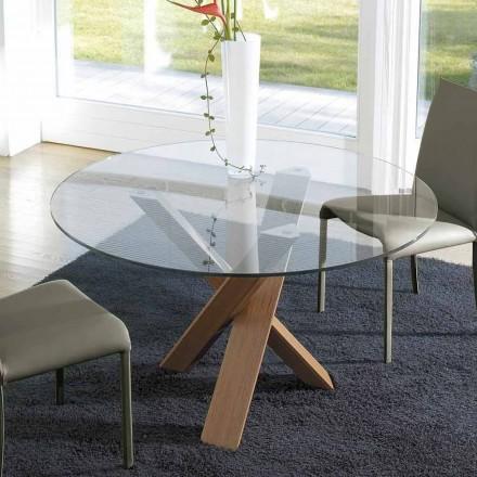 Okrągły stół design d.150 szklany blat wykonany we Włoszech Cristal