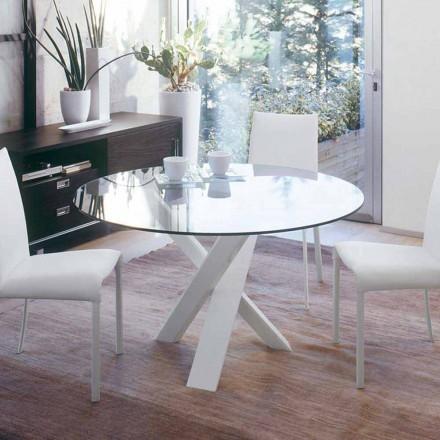 Okrągły stół design d.160 szklany blat wykonany we Włoszech Cristal