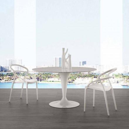 Okrągły stół o średnicy 120 cm z blatem z białego marmuru Carrara Rimini