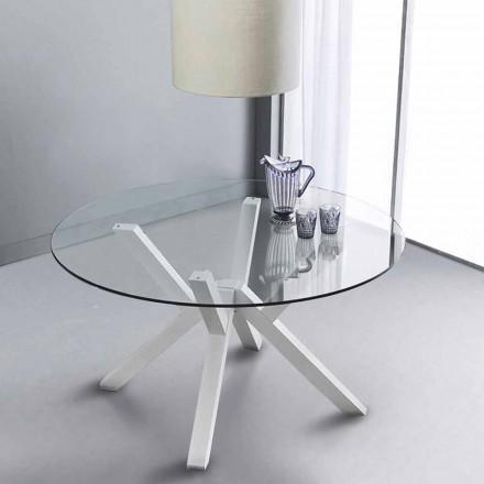 Okrągły stół Burgos ze szklanym blatem i białymi nogami
