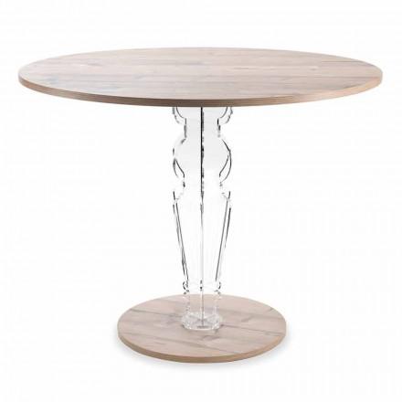 Okrągły drewniany stół i przezroczysta noga z pleksi - Maritozzo