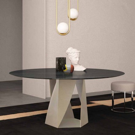 Okrągły stół z czarnego marmuru oceanicznego o średnicy 130 cm, wyprodukowany we Włoszech - Montedoro