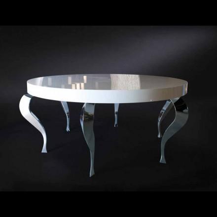 Stół okrągły klasyczny z płyty mdf i stali, Luigi