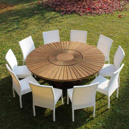 Stół okrągły z masywnego teak Real Table do ogrodów i wnętrz