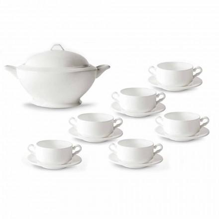 Filiżanki do zupy, waza i spodek z białej porcelany 13 sztuk - Samantha