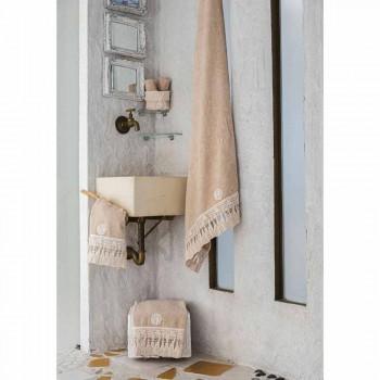 Bawełniany ręcznik kąpielowy frotte z włoską luksusową koronką z frędzlami - Arafico