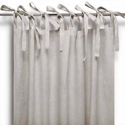 Zasłona ze sznurowadłami z czystej lnu w kolorze naturalnym Made in Italy - Daiana