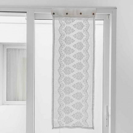 Biała zasłona z jasnej lnu z gotyckim haftem bawełnianym - Gegia