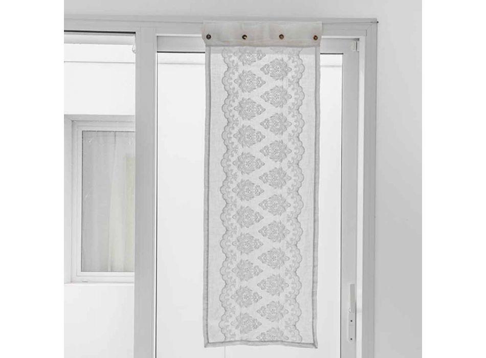 Biała szklana zasłona z jasnej lnu z gotyckim haftem bawełnianym - Gegia