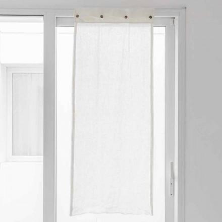 Biała zasłona z jasnego lnu i guzików z masy perłowej - Georgette