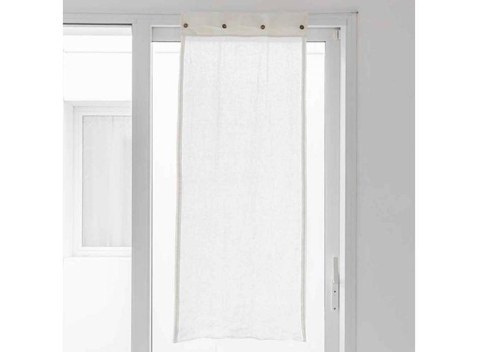 Biała szklana zasłona z jasnego lnu i guzików z masy perłowej - Georgette
