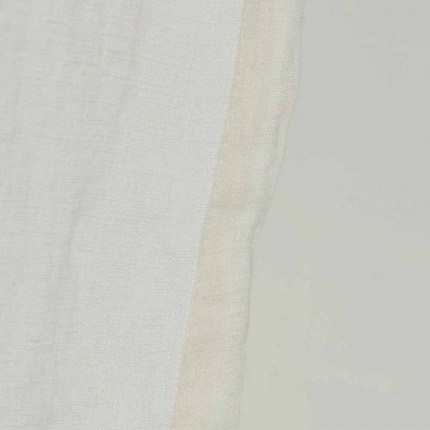 Lekka lniana biała zasłona z włoskimi luksusowymi guzikami - Geogeo