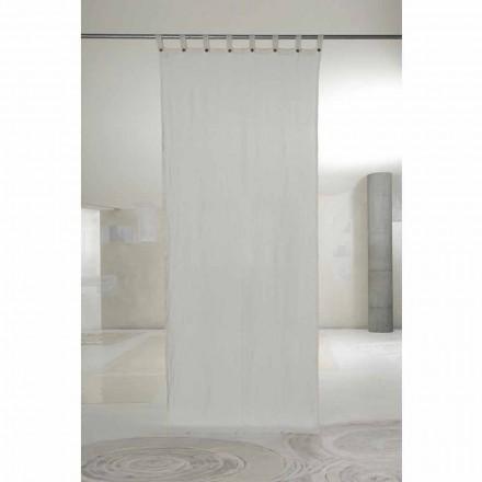 Biała lekka lniana zasłona z guzikami o luksusowym designie - Geogeo