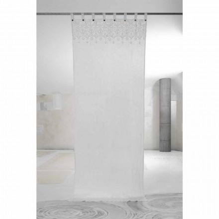 Biała lekka lniana zasłona z koronką o eleganckim designie Made in Italy - Geogeo