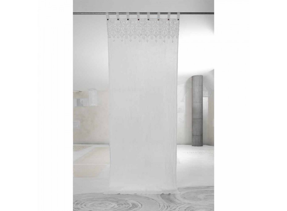 Biała lekka lniana zasłona z koronkowym eleganckim wzorem Made in Italy - Geogeo