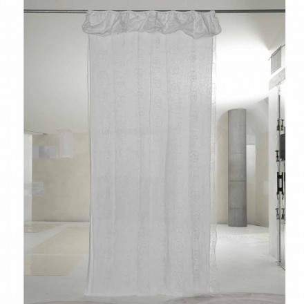 Zasłona z białej lnu i organzy z eleganckim haftem w róże - Mariarosa