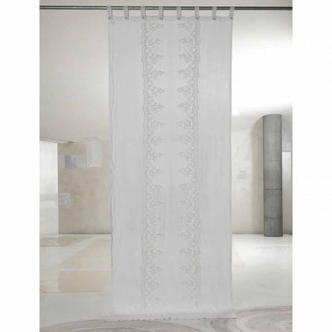 Biała i jasna lniana zasłona z elegancką centralną koronką - Geogeo
