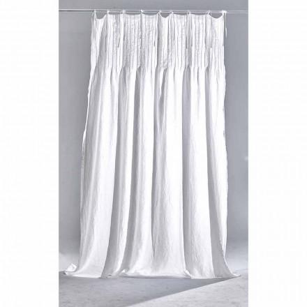 Biała lekka lniana zasłona z prążkowanym włoskim wzorem jakości - Tafta