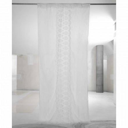 Biała, jasna lniana zasłona z organzą i haftem Włoski luksus - Marinella