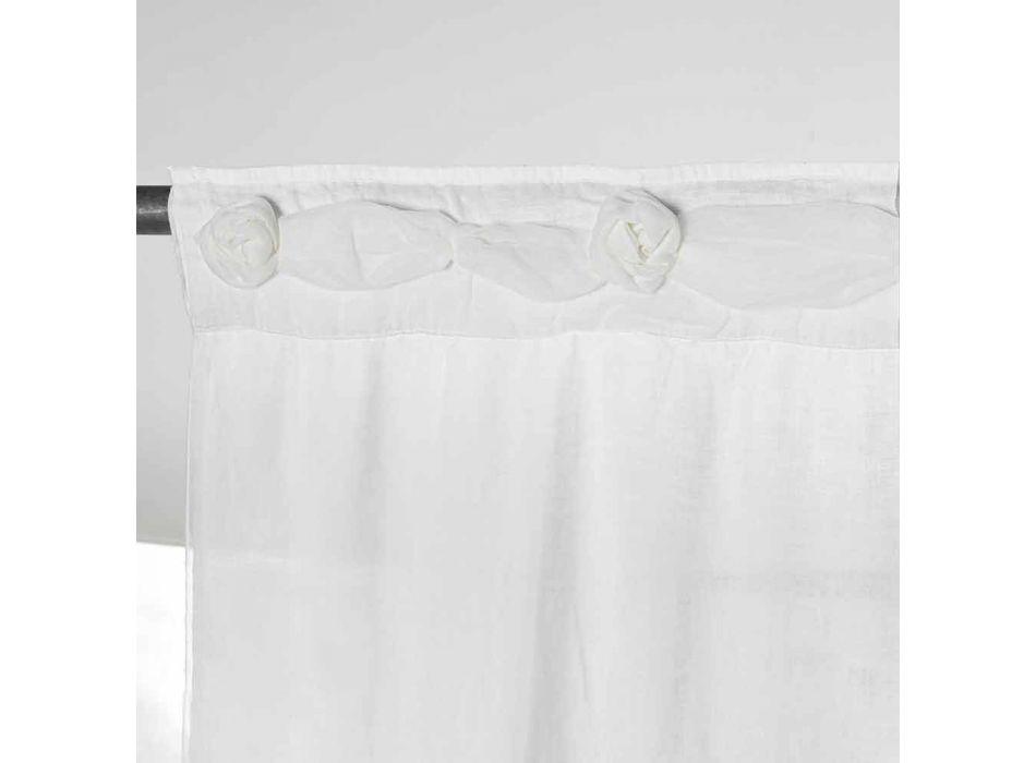 Zasłona z białej lnu z organzą i wzorem haftu Shabby Made in Italy - Marpessa