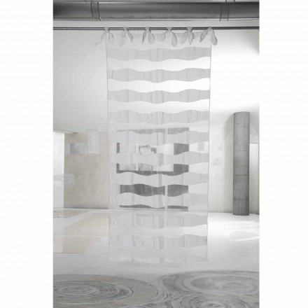Biała lniana zasłona z organzy z eleganckim haftem - Oceanomare