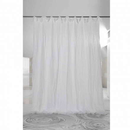Zasłona z białego prążkowanego lnu i organzy, luksusowy włoski projekt - Karnak