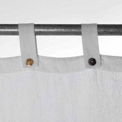 Ciężka biała lniana zasłona z luksusowymi guzikami włoskiej jakości - Gorgia