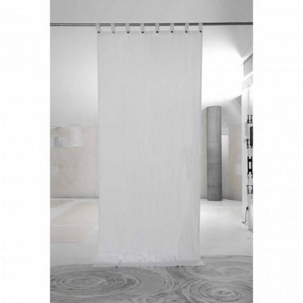 Biała ciężka lniana zasłona z luksusowymi guzikami włoskiej jakości - Gorgia
