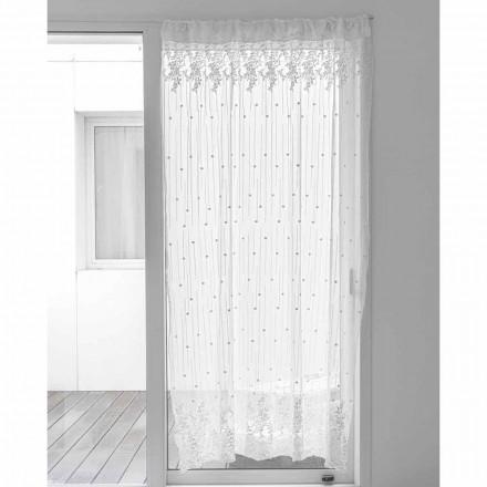 Zasłona tiulowa biała z haftem w kropki i kwiaty, Design - Eucariota